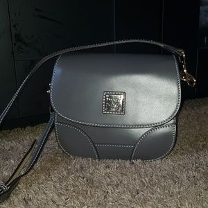 Dooney and bourke gray selleria saddle crossbody